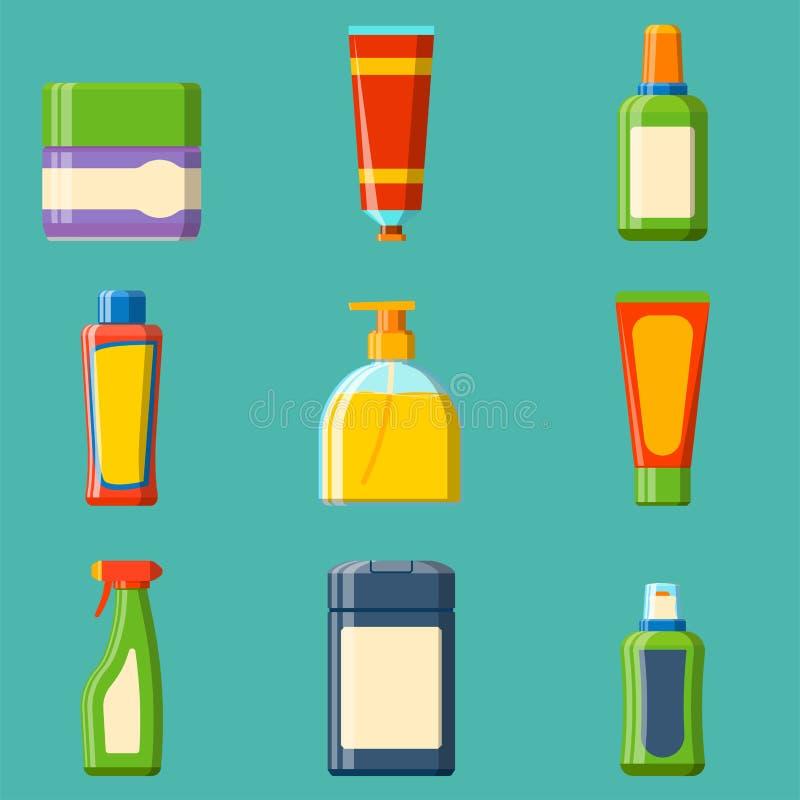Do chuveiro plástico do recipiente do champô da garrafa do banho ilustração lisa do estilo para o projeto da higiene do vetor do  ilustração do vetor