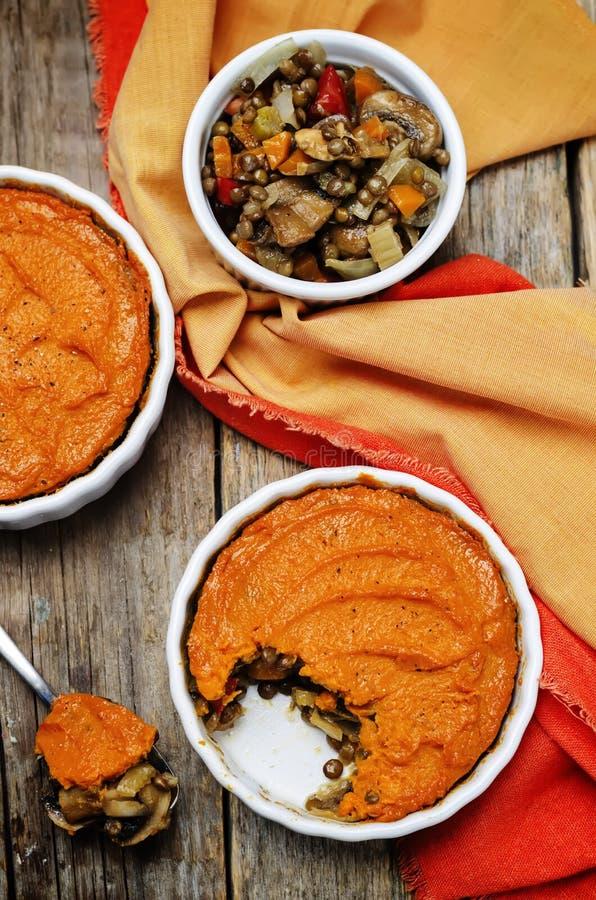 Do cogumelo verde da lentilha do vegetariano a batata doce Shepherds a torta imagem de stock royalty free