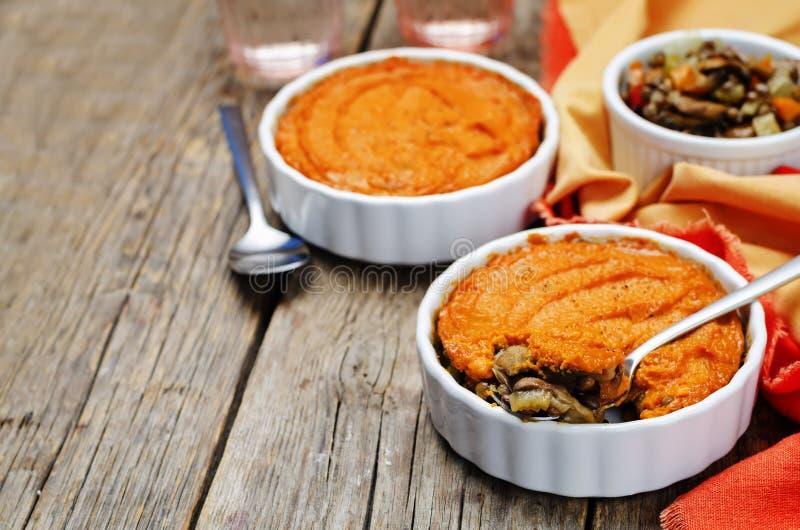 Do cogumelo verde da lentilha do vegetariano a batata doce Shepherds a torta foto de stock royalty free