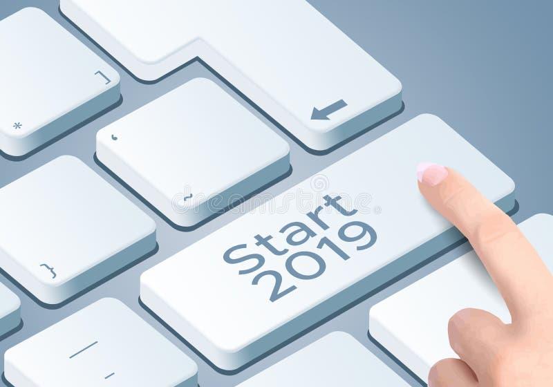 Do começo chave 2019 de teclado Impulso do dedo o botão ilustração do vetor