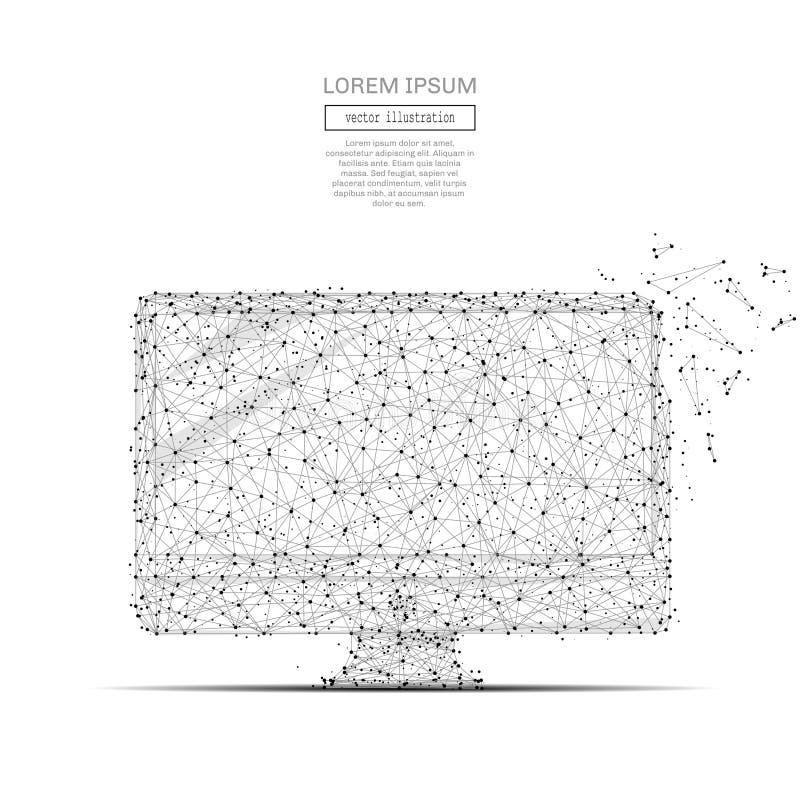 Do computador cinza poli baixo ilustração stock