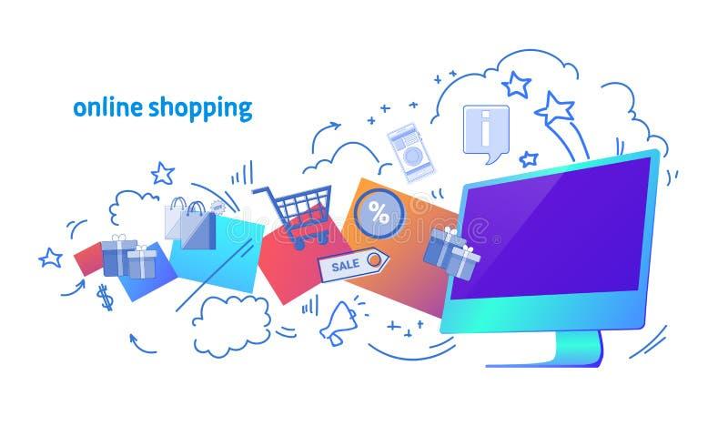 Do computador horizontal da bandeira do pagamento eletrônico do Internet garatuja virtual de compra em linha do esboço da transaç ilustração stock