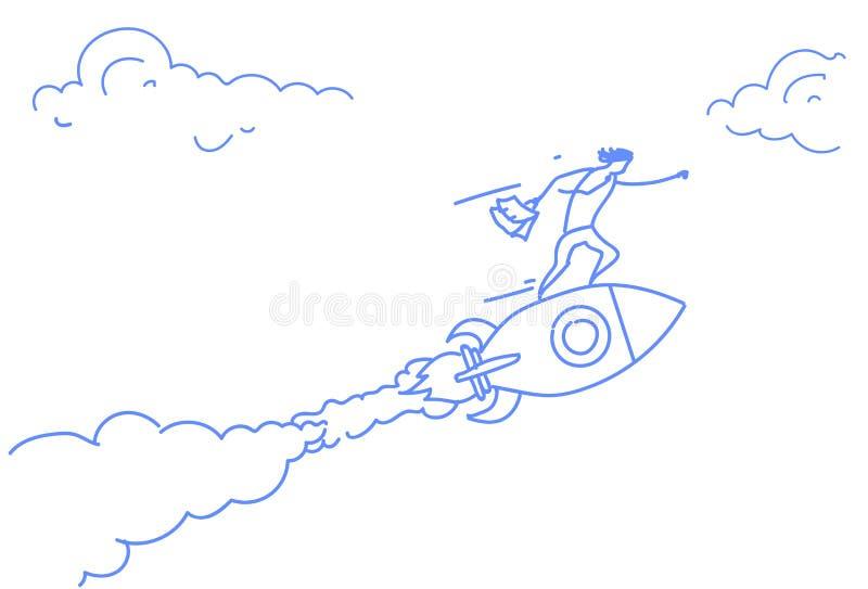 Do conceito bem sucedido startup da estratégia do projeto da inovação do foguete do voo do homem de negócios garatuja horizontal  ilustração stock