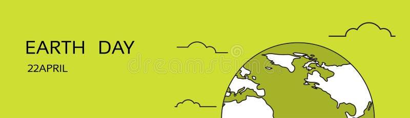 Do conceito nacional da proteção de April Holiday Globe Emblem Ecological do mundo do Dia da Terra bandeira horizontal ilustração do vetor