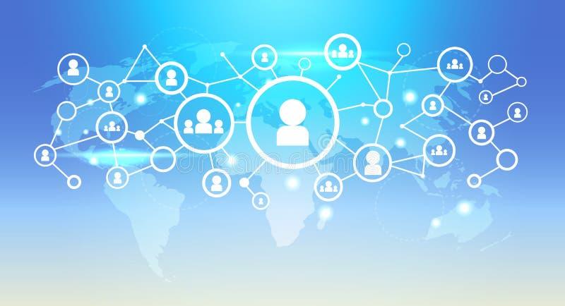 Do conceito social futurista da conexão de rede dos meios da relação do ícone do usuário do mapa do mundo fundo azul horizontalme ilustração royalty free