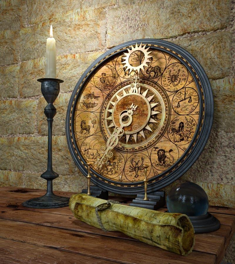 Do conceito vida ainda com suspiros e vela do zodíaco ilustração stock