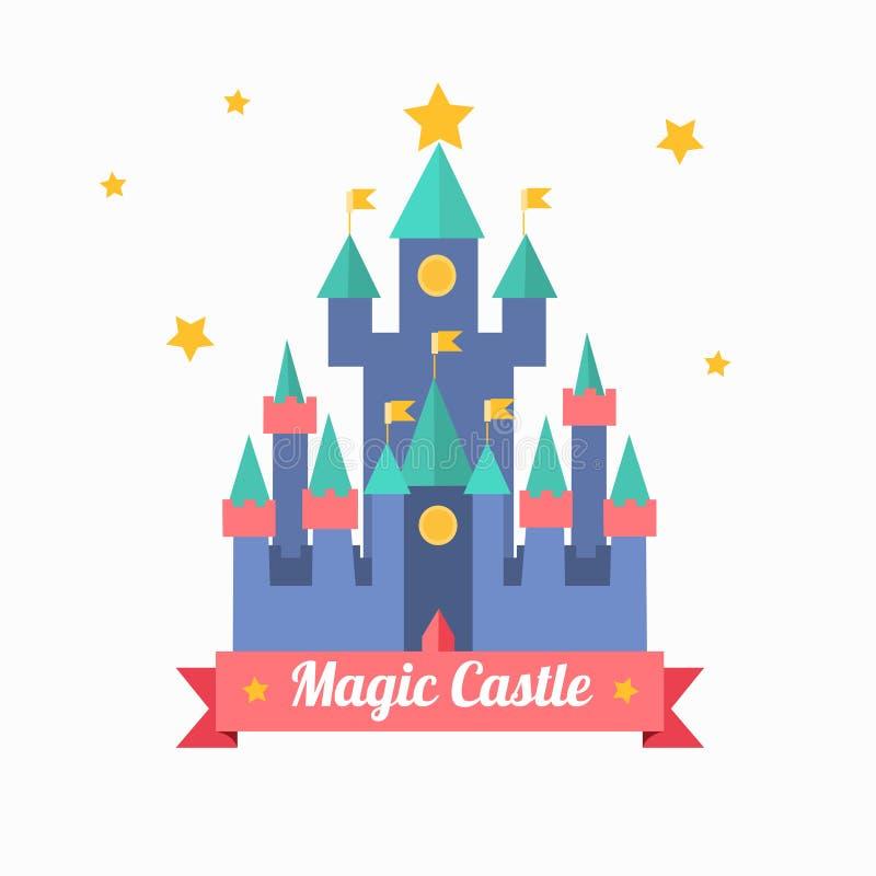 Do conto de fadas mágico do castelo dos desenhos animados casa medieval Vetor ilustração stock