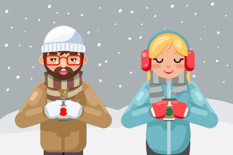 Do copo quente do homem novo do café do chá da bebida do inverno dos pares do moderno do totó dos amigos ilustração lisa do vetor ilustração stock
