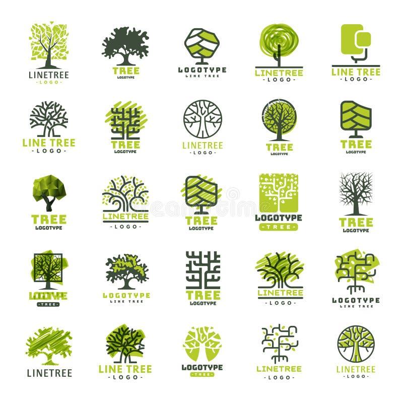 Do crachá exterior da floresta da silhueta do verde do curso da árvore linha natural conífera vetor da coleção do crachá do logot ilustração royalty free
