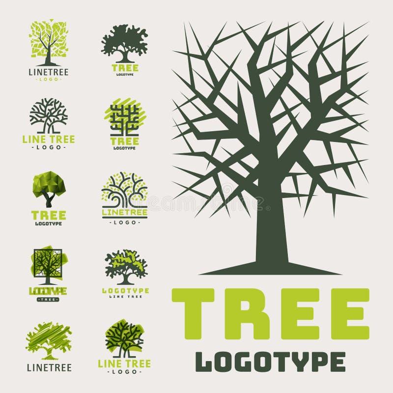 Do crachá exterior da floresta da silhueta do verde do curso da árvore o crachá natural conífero cobre a linha vetor spruce ilustração royalty free