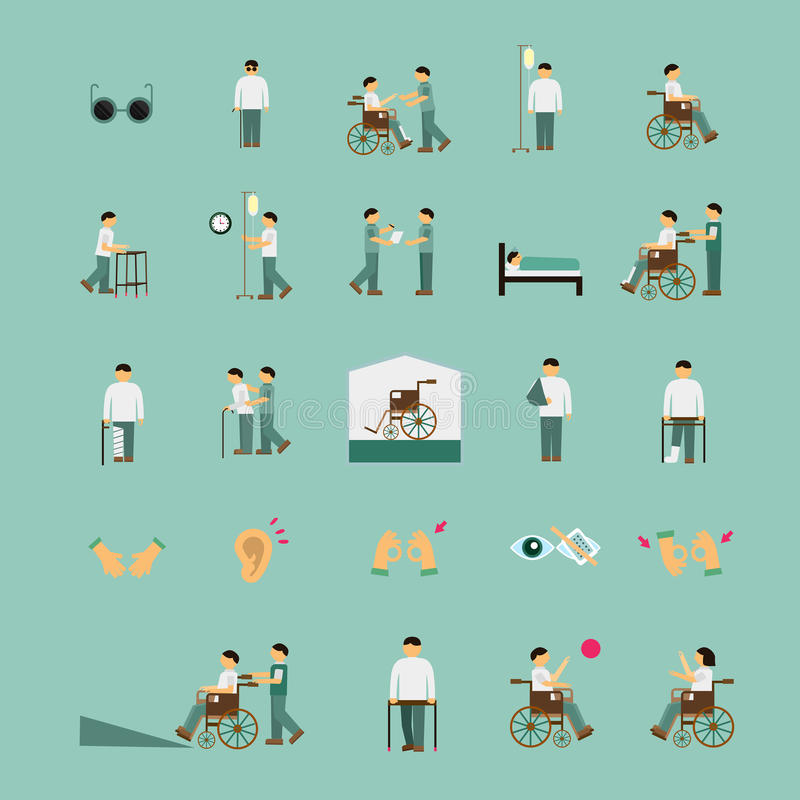 Do cuidado deficientes motores dos ícones lisos da ajuda ajustados ilustração do vetor