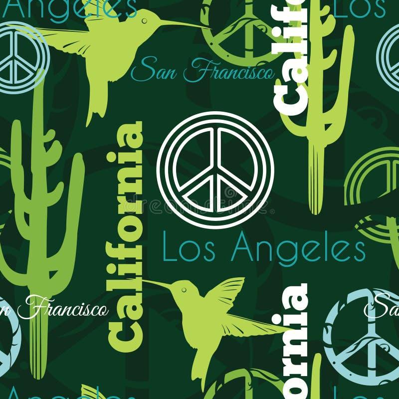 Do curso verde dos animais de Califórnia do vetor teste padrão sem emenda com Los Angeles, San Francisco, colibris, e símbolos de ilustração stock