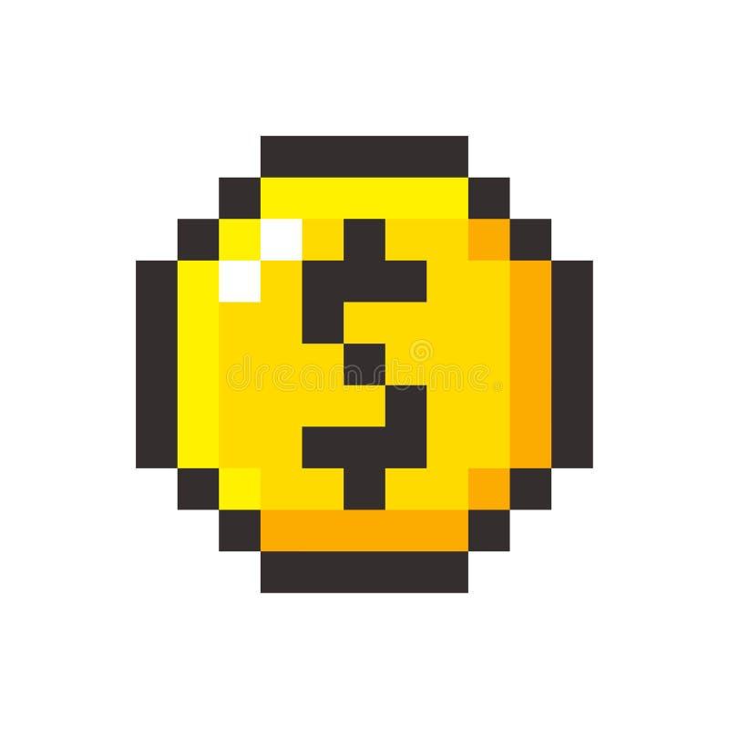 Do dólar dourado da moeda da arte do pixel jogo de vídeo retro ilustração stock