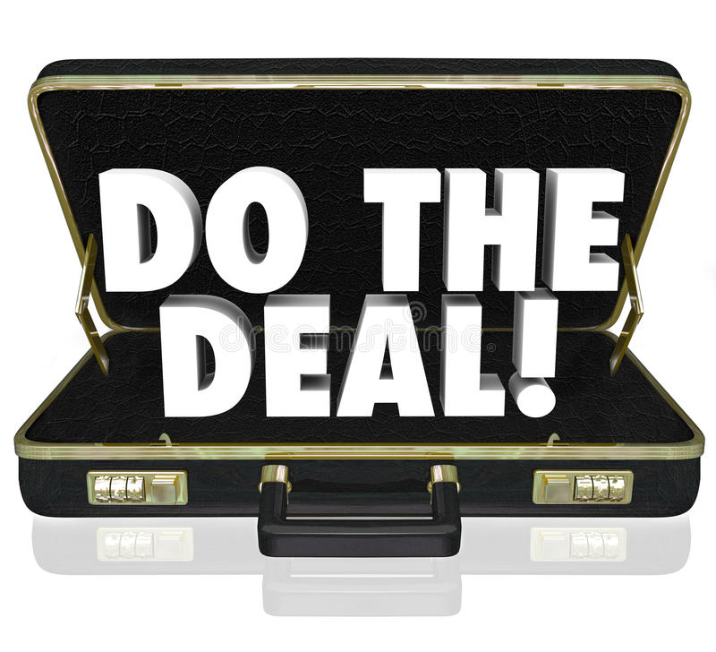 Do the Deal Briefcase Words Close Sale. Do the Deal words in a black leather briefcase to illustrate closing the sale and successfully finalizing an agreement vector illustration