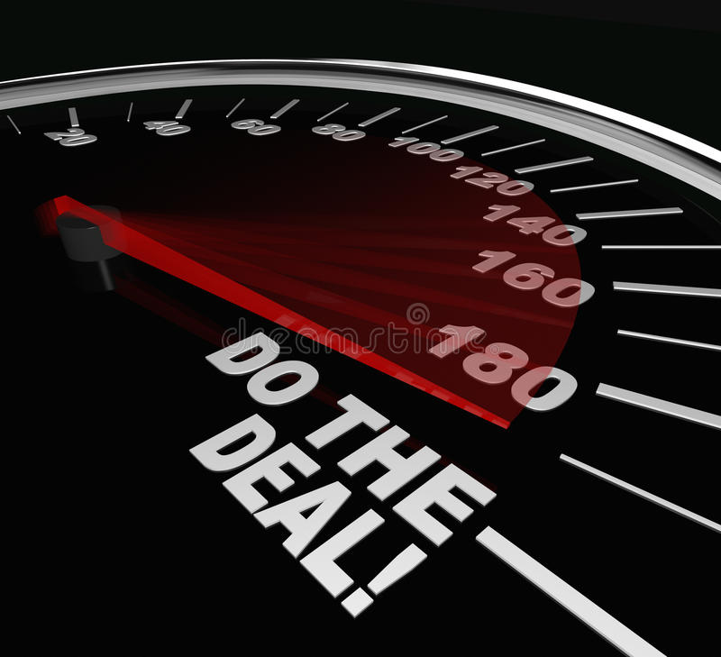 Do the Deal Close Sale Finalize Contract Speedometer. The words Do the Deal on a speedometer illustrating the importance of closing a sale or finalizing an stock illustration