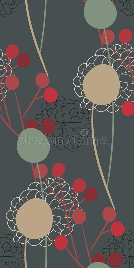 Do design floral sem emenda cinzento do vetor do teste padrão da flor do sumário do prado escandinavo primitivo imagens de stock royalty free