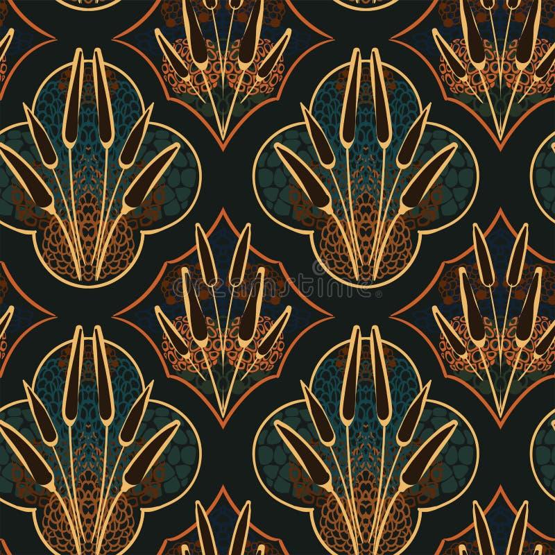Do design floral sem emenda do vetor do teste padrão do prado do outono escandinavo primitivo ilustração do vetor
