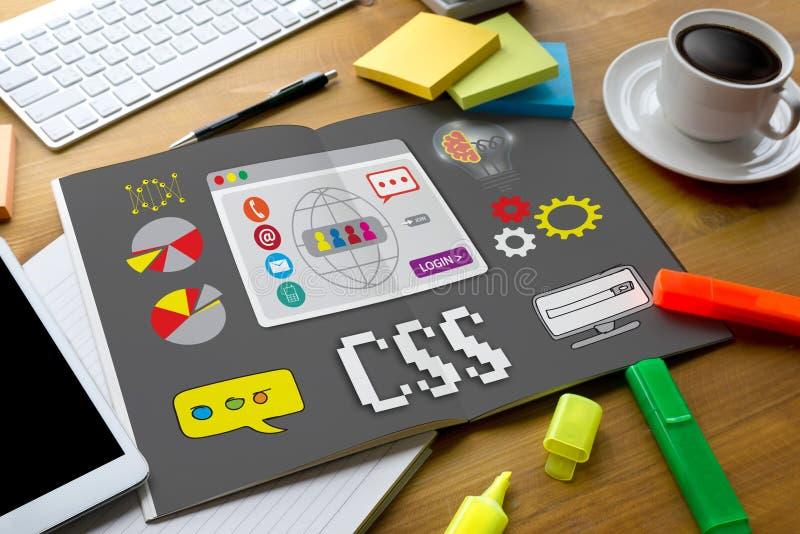 Do design web em linha da tecnologia da Web do CSS folha de conexão em cascata p do estilo do css fotos de stock