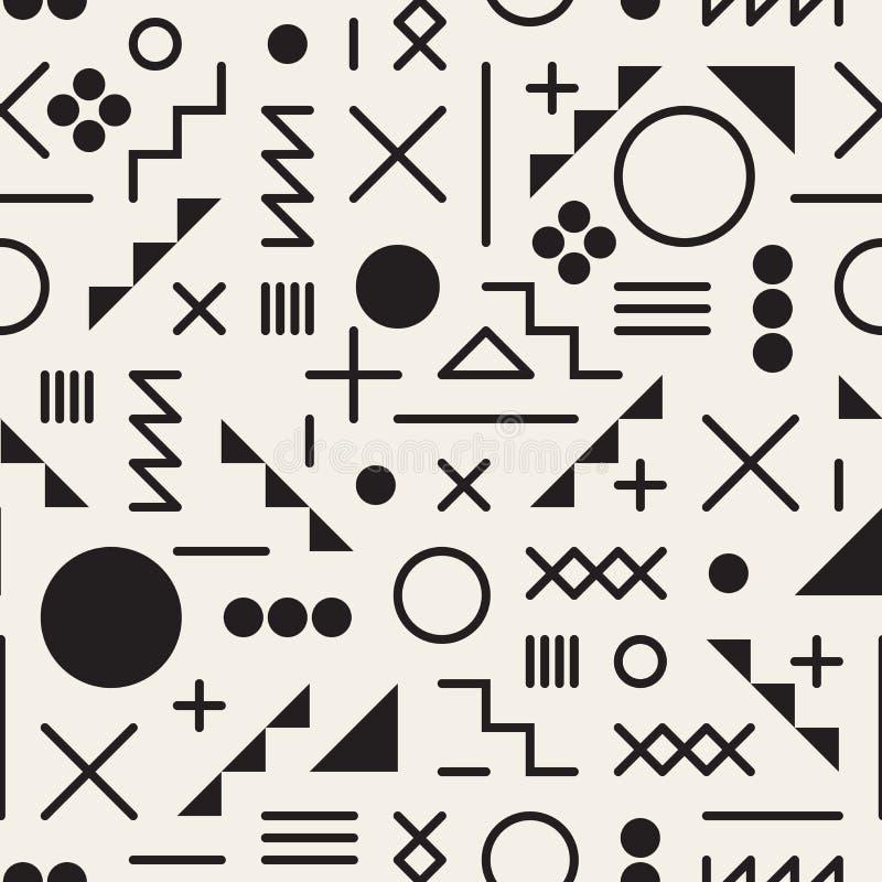 Do desordem retro preto e branco sem emenda dos anos 80 do vetor linha geométrica teste padrão do moderno das formas ilustração do vetor