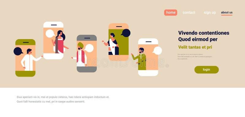 Do diálogo móvel do discurso do conceito de uma comunicação da aplicação da bolha do bate-papo da tela de Smartphone desenhos ani ilustração do vetor