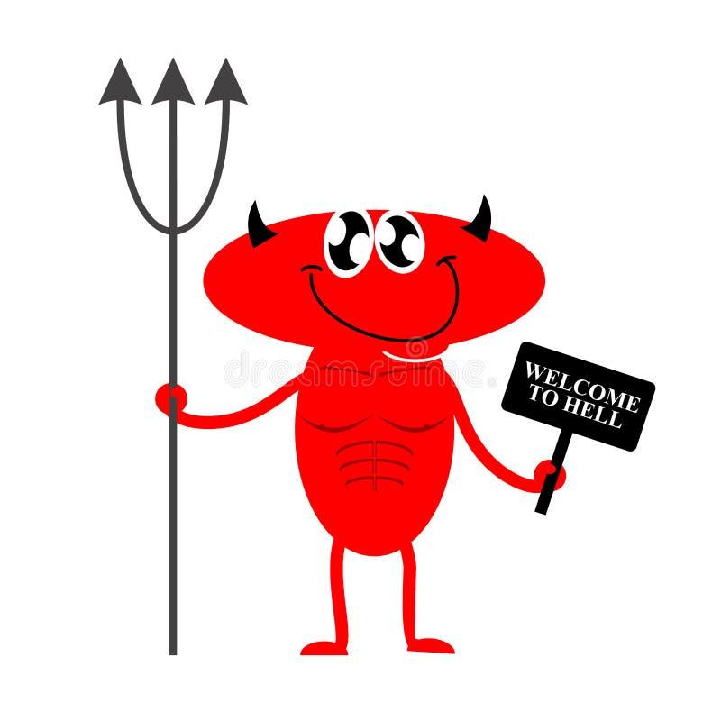 do diabła z zadowoleniem Śliczny Czerwony diabeł trzyma Trident i znaka deviance royalty ilustracja