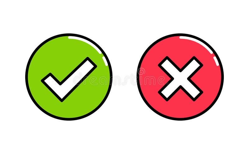 Do and Don`t circle box vector icons. Modern flat illustration. Check tick and reject icons in green and red square. Outline icon vector illustration
