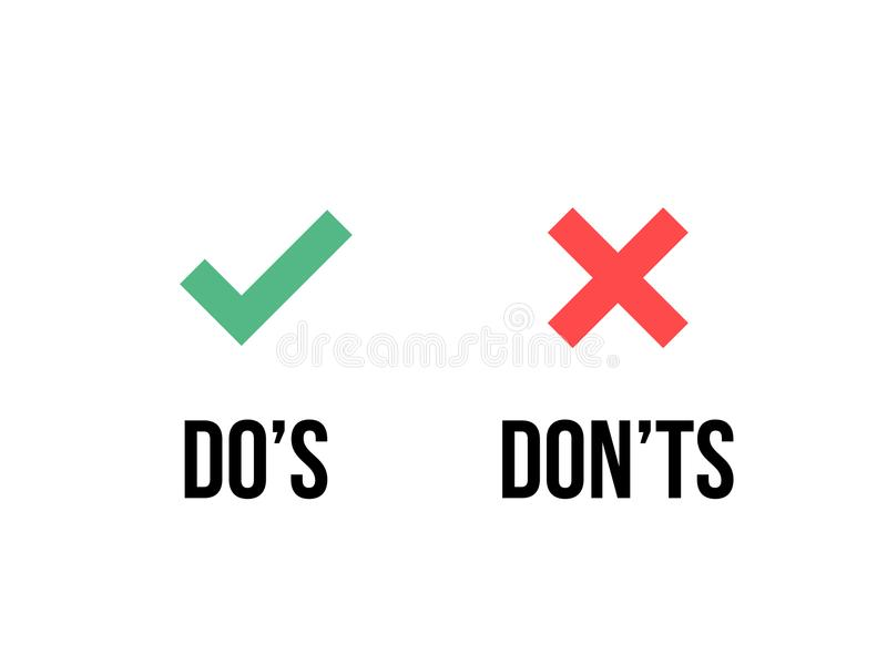 Do and Dont check tick mark red cross vector icon. Do and Dont check tick mark and red cross icons isolated on transparent background. Vector Do`s and Don`ts royalty free illustration