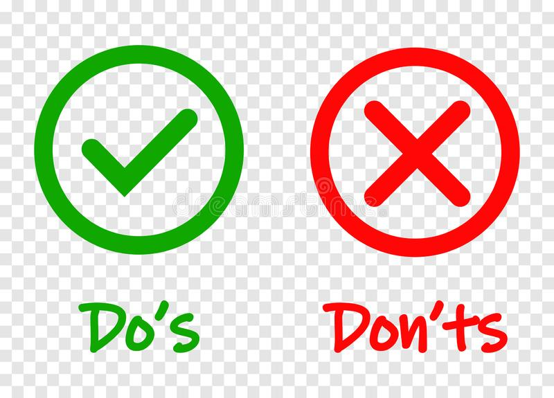 Do and Dont check tick mark and red cross icons isolated on transparent background. Vector Do s and Don ts checklist or. Choice option symbols in circle frame vector illustration