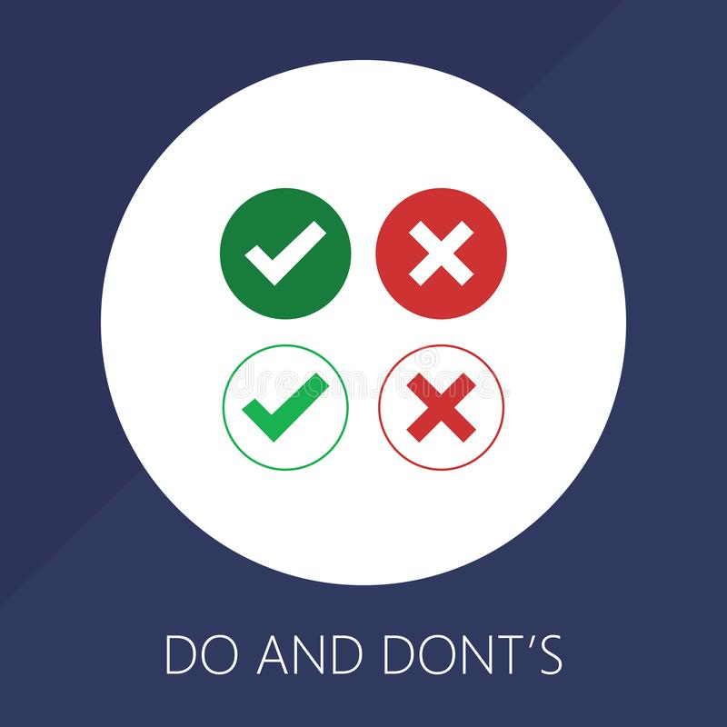 Do and Dont check tick mark and red cross icons isolated on white background. Vector checklist or choice option symbols in circle stock illustration