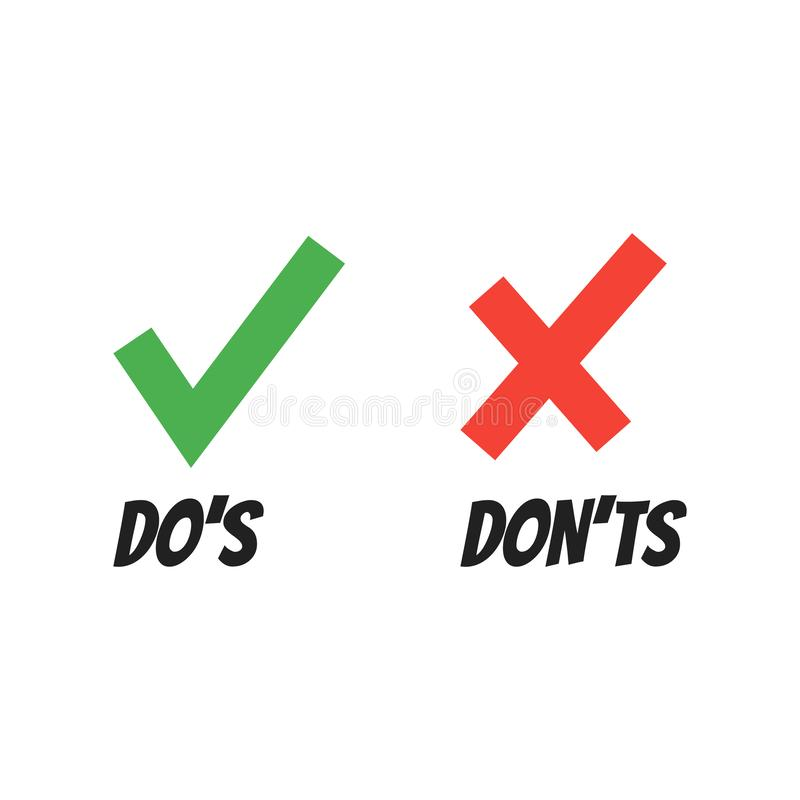 Do and Dont check tick mark and red cross icons isolated on white background. Vector Do`s and Don`ts checklist or choice option symbols royalty free illustration