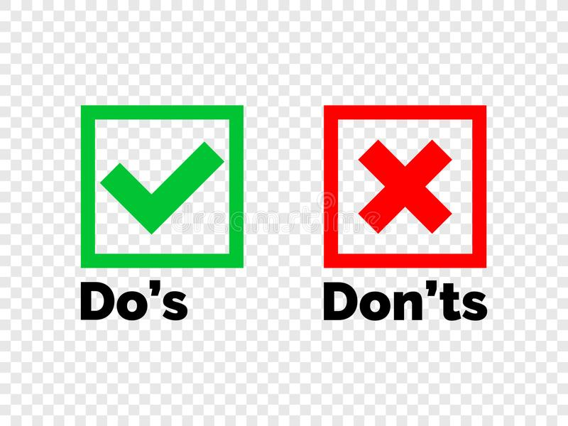 Do and Dont check tick mark red cross vector icon. Do and Dont check tick mark and red cross icons on transparent background. Vector Do`s and Don`ts checklist or royalty free illustration