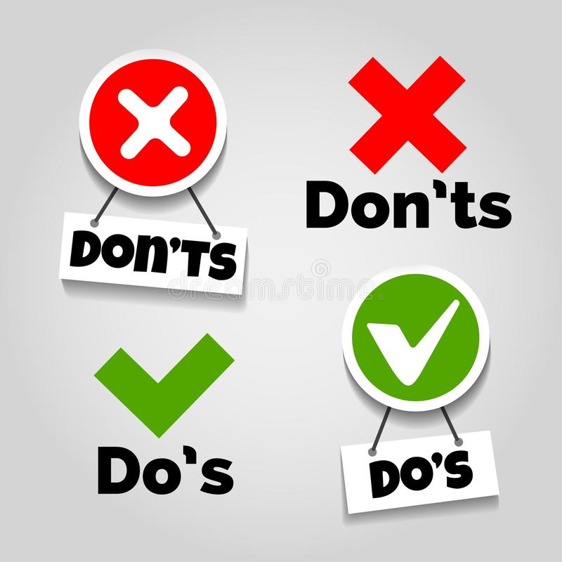 Do and dont icons. Doing recommendation and mistake color signs with text box for guidelines, tests and consumer rights vector illustration vector illustration