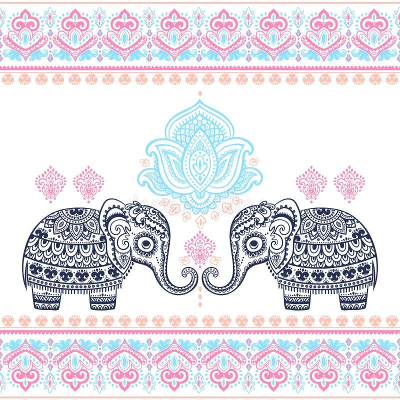 Do elefante étnico indiano gráfico dos lótus do vetor do vintage pancadinha sem emenda ilustração stock