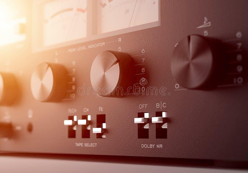 Do elemento estereofônico audio do equipamento da música foco seletivo 3d rendem ilustração royalty free