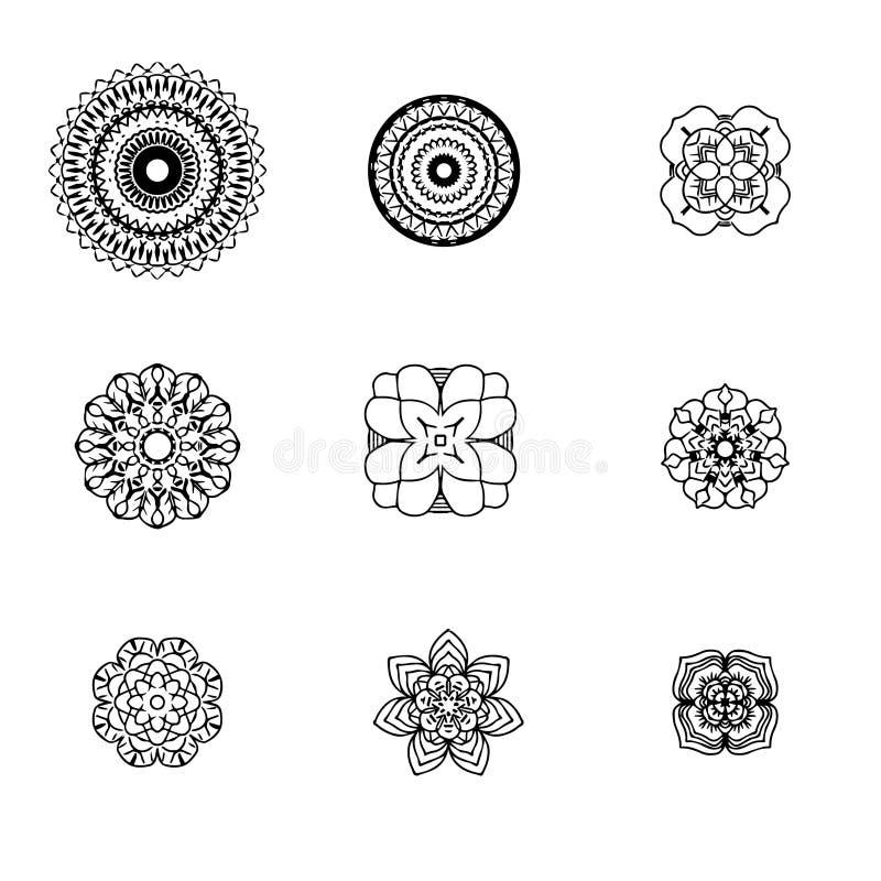 Do elemento preto do desenho de projeto da decoração do contorno da coleção do círculo do buddhism do fundo da arte abstrato da m ilustração royalty free