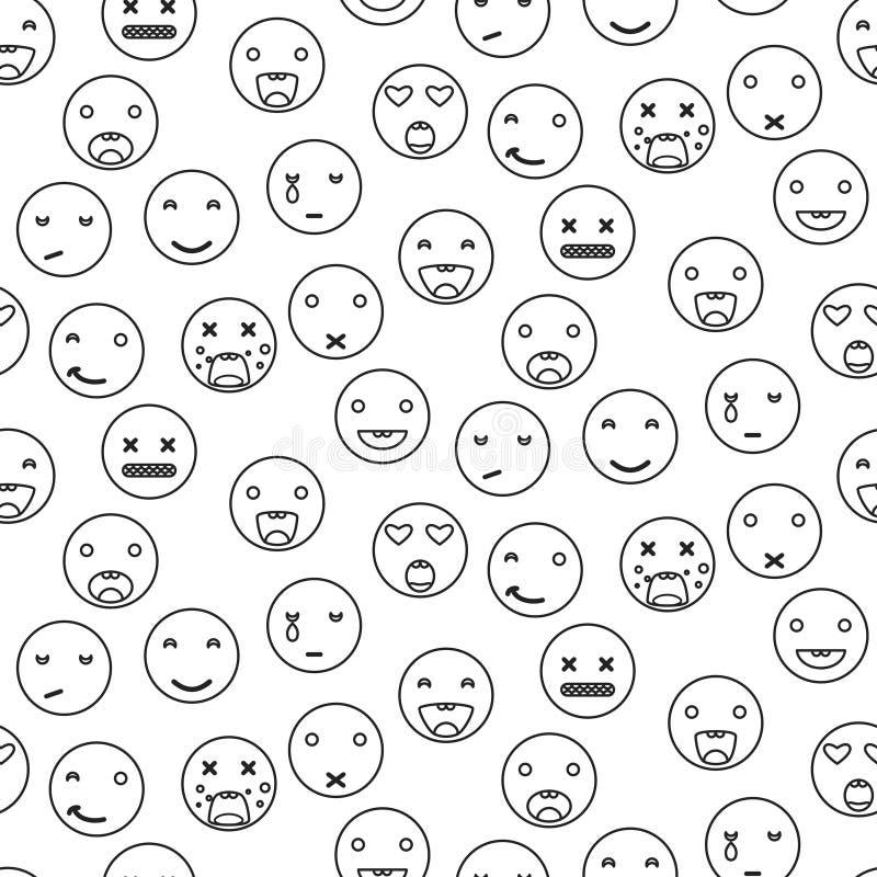 Do emoji redondo do sorriso do esboço teste padrão sem emenda Vetor linear do estilo do ícone do Emoticon ilustração royalty free