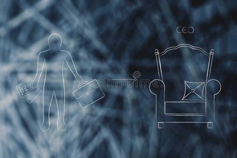 Do empregado ao CEO com ícones do homem e do trono de negócio foto de stock