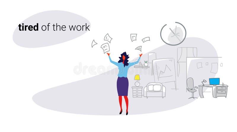 Do empregador irritado mau da mulher de negócios do conceito de trabalho dos documentos de papéis do chefe insatisfeito da mulher ilustração do vetor
