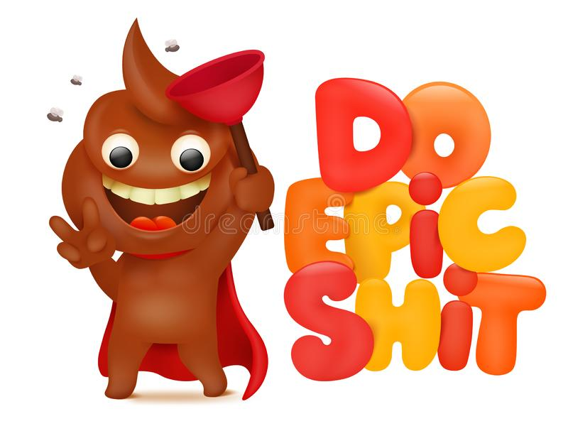 Do epic shit concept card with poo cartoon emoji character royalty free illustration
