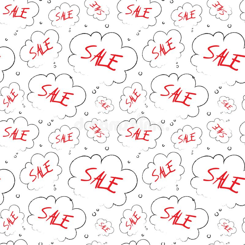 Do esboço sem emenda do teste padrão da venda texto vermelho no projeto do fundo do Grunge do ornamento da nuvem ilustração do vetor