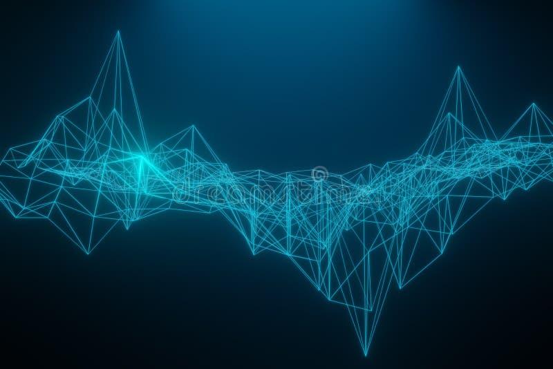 Do espa?o fundo escuro poli poligonal abstrato baixo com pontos e linhas de conex?o Estrutura da conex?o rendi??o 3d ilustração royalty free