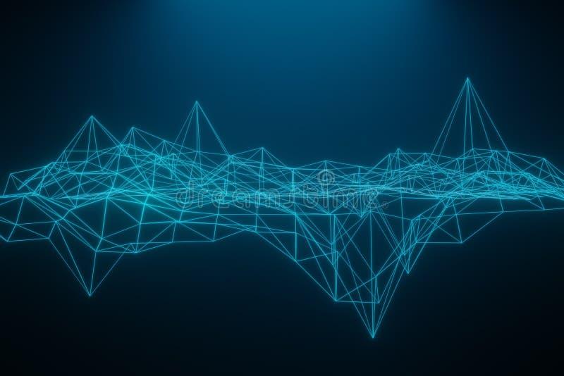 Do espa?o fundo escuro poli poligonal abstrato baixo com pontos e linhas de conex?o Estrutura da conex?o rendi??o 3d ilustração stock