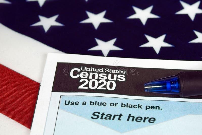 Do Estados Unidos formulário 2020 de recenseamento imagem de stock royalty free