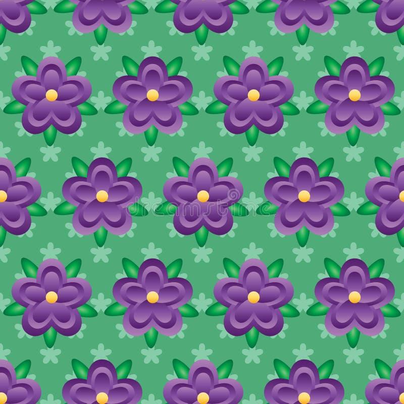 Do estilo roxo do batik do inclinação da flor teste padrão sem emenda ilustração royalty free