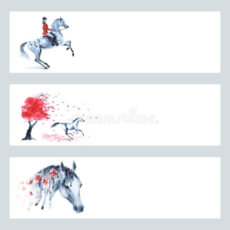 Do estilo tradicional equestre da caça de raposa de Inglaterra do cavalo grupo vermelho da bandeira ilustração do vetor