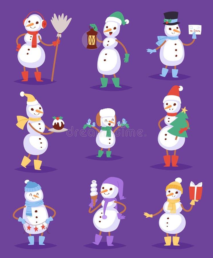 Do feriado bonito do caráter do Natal do inverno dos desenhos animados do boneco de neve os meninos e as meninas alegres da neve  ilustração stock
