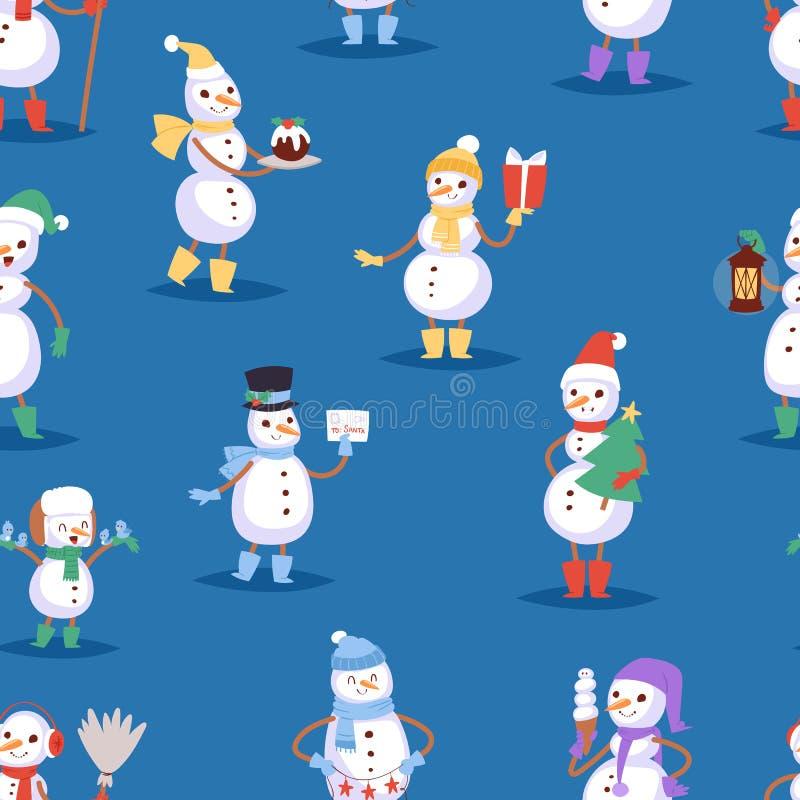 Do feriado bonito do homem do caráter do Natal do inverno dos desenhos animados do boneco de neve os meninos e as meninas alegres ilustração royalty free