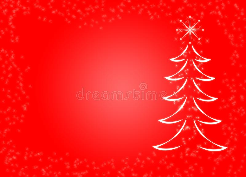 Do floco de neve vermelho da neve do pinheiro do abeto do fundo do tema do Natal decorativo sparkly mágico ilustração do vetor