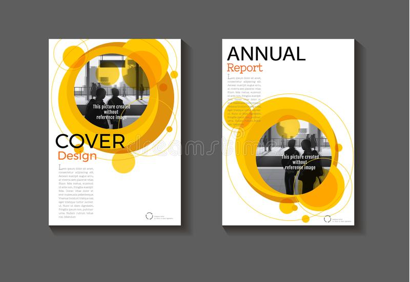 Do fundo abstrato amarelo da disposição do círculo projeto moderno mo da tampa ilustração stock