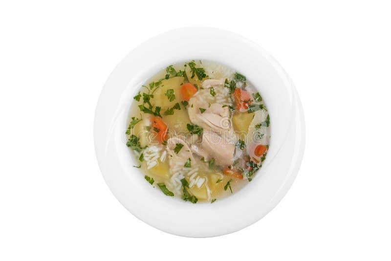 Do fundo branco Georgian tradicional do prato da canja de galinha opinião superior fotos de stock